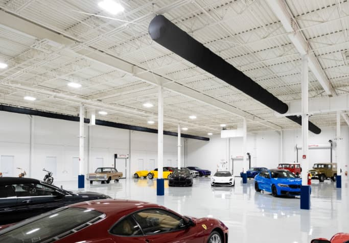 Luxury cars inside a garage